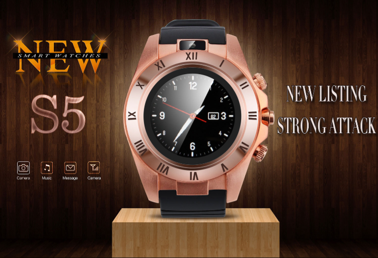 Cool design S5 round camera touch screen GSM smart phone watch for teenager