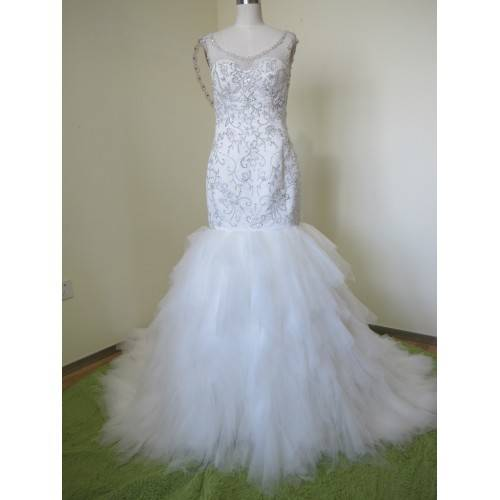 ELEGANT MERMAID TULLE&SATIN BATEAU NECKLINE SEQUINS BEADING&CRYSTALS CHAPEL TRAIN WEDDING DRESS W808