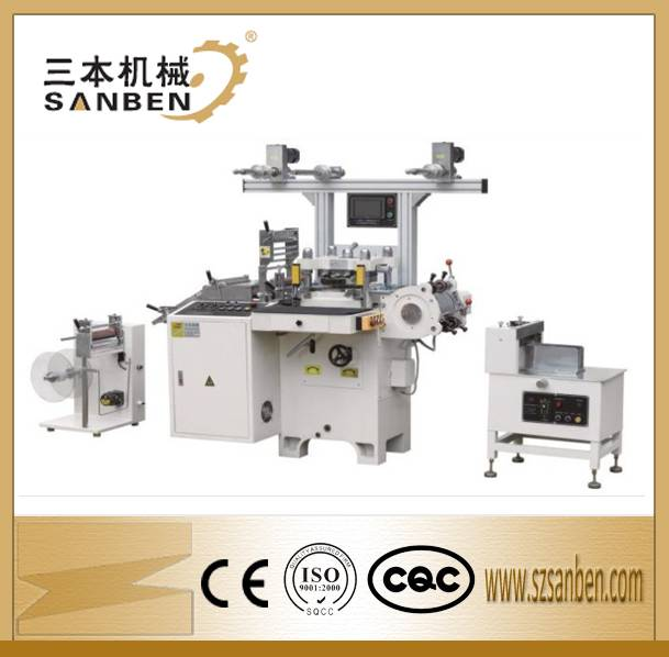 SBM-320 Self adhesive label die cuttting machine for roll materials, flatbed die cutting machine wit