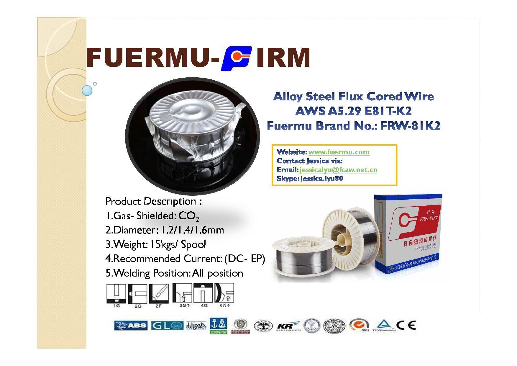 E81T1-K2 Flux Cored Wire, Fuermu Brand: FRW-81K2