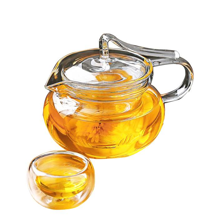 Borosilicate glass teapot with strainer for blooming tea