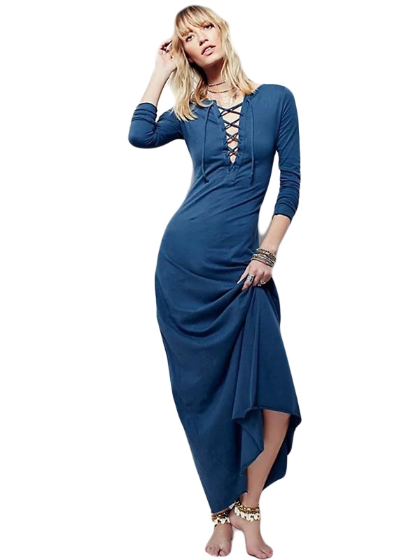 Casual Women Solid Lace Up O-Neck Long Sleeve Floor-Length Dress WT51889