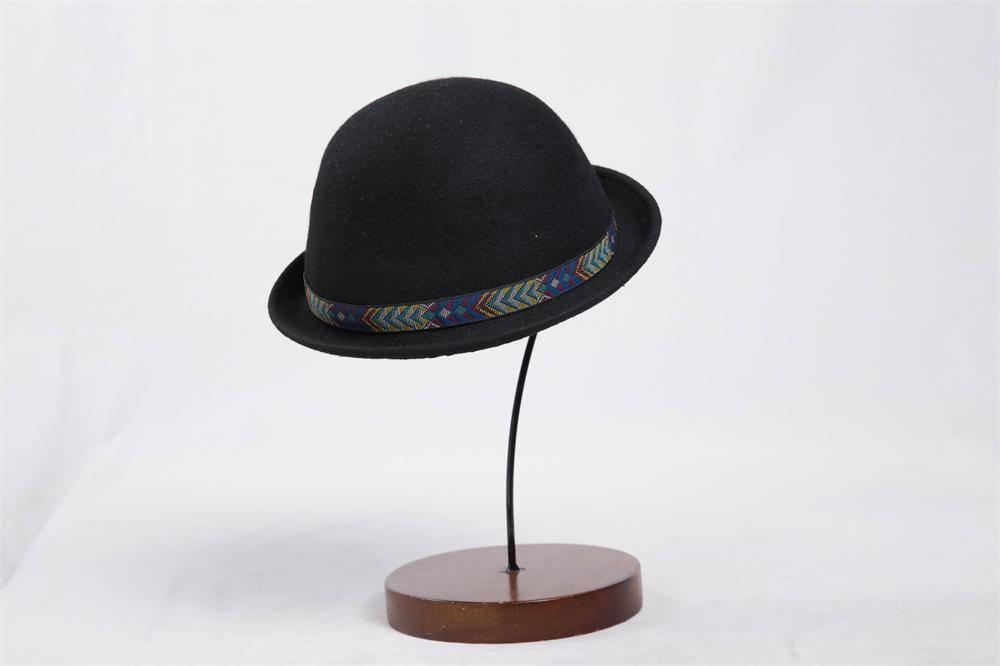 Winter Black 100% Wool Felt Bowler Hat (FW001011)