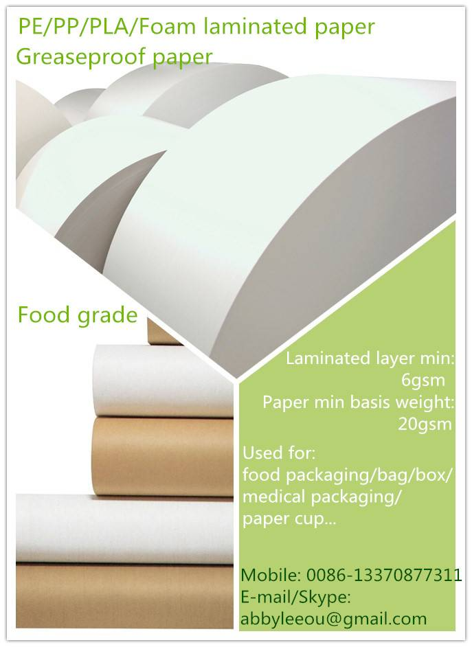 PE coated paper for disposable paper cup/ bowl