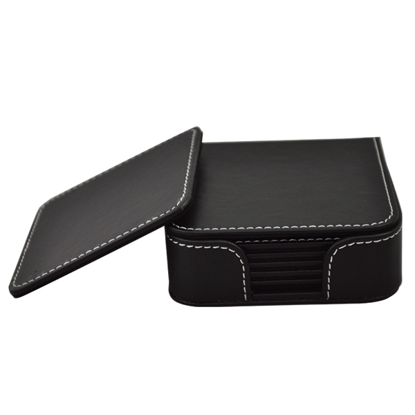Square Faux Leather Coaster Sets with Holder
