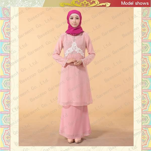 MF20299 Chiffon Baju Kurung beading for Women Muslim clothing