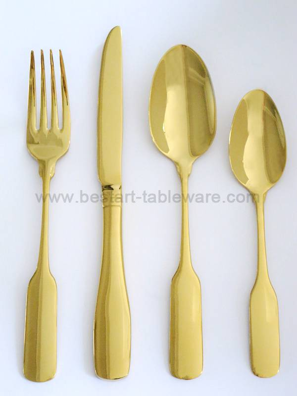New product stainless steel silver and gold cutlery set