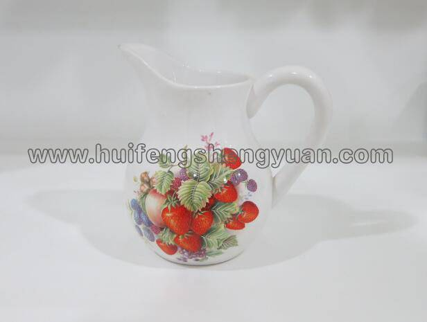 handmade decal ceramic pitcher