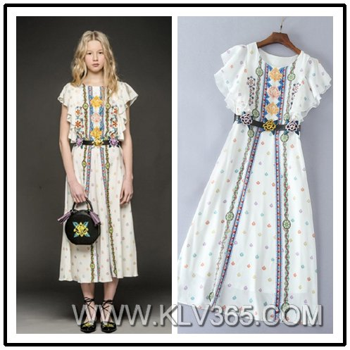 Hot Sale 2017 Spring Summer Ladies Embroidered Casual Dress