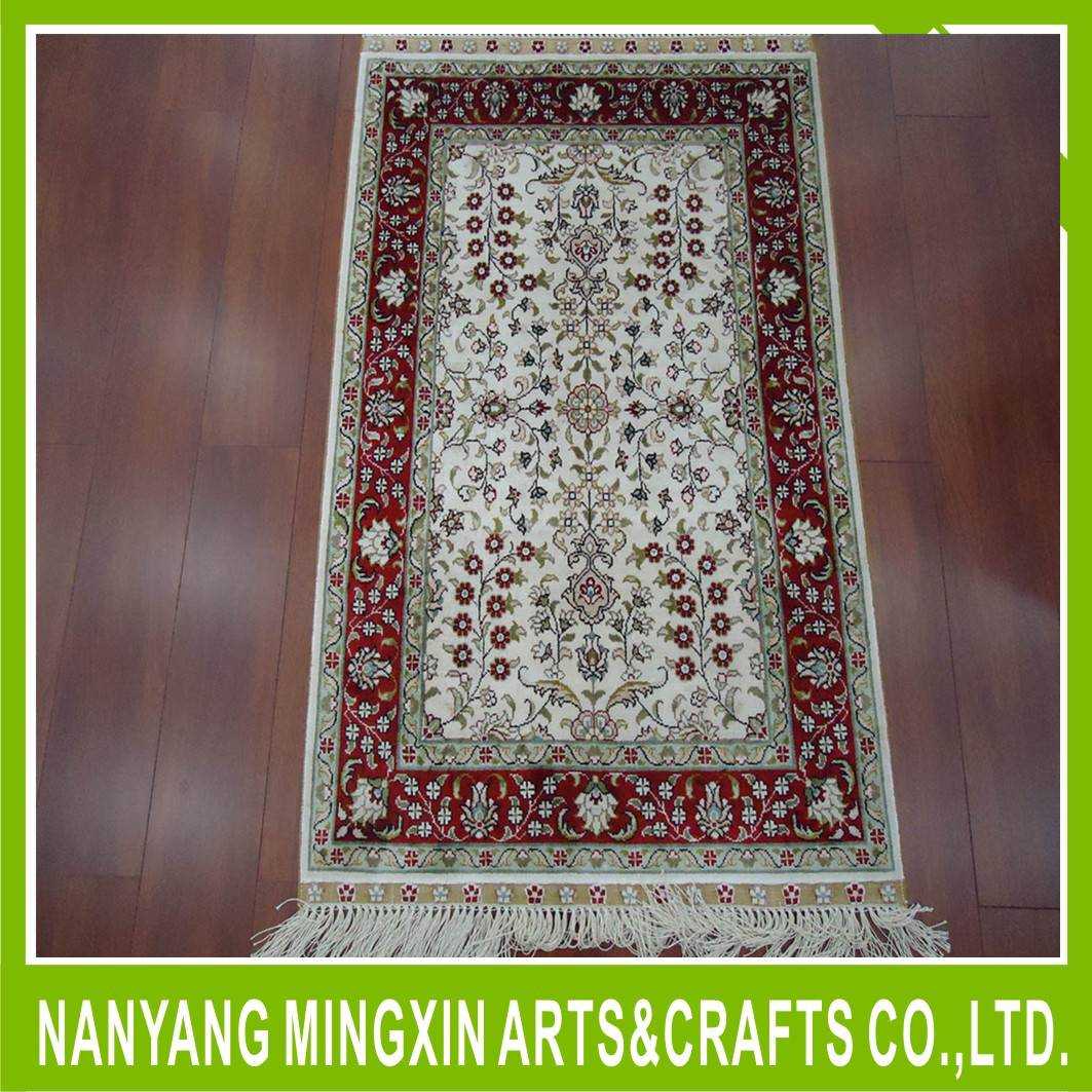 Persian fashion handmade silk carpet rug hand knotted prayer rug