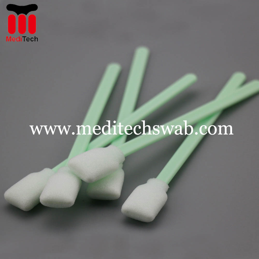 Print head cleaning foam tip swabs