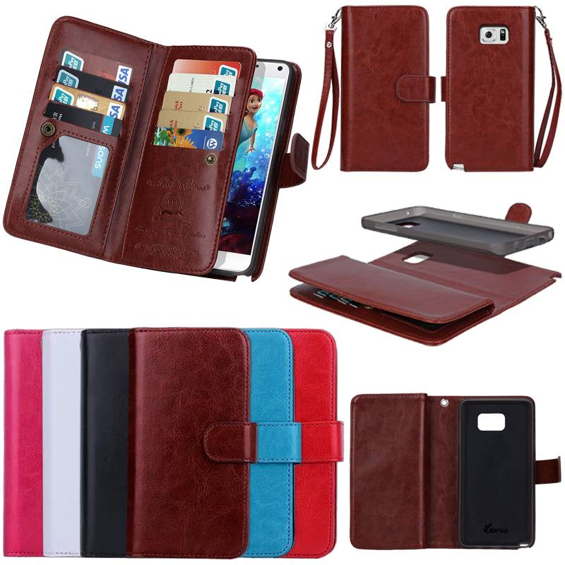 Flip Wallet Leather Case W/ Magnetic Detachable Cover for Galaxy Note 5 S6 Edge Plus SGN5C15