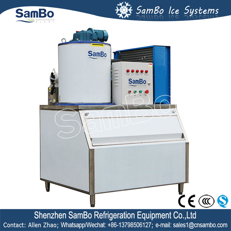 SamBo Commercial Supermarket Used Small Ice Flake Maker 1ton With Ice Bin For Sale