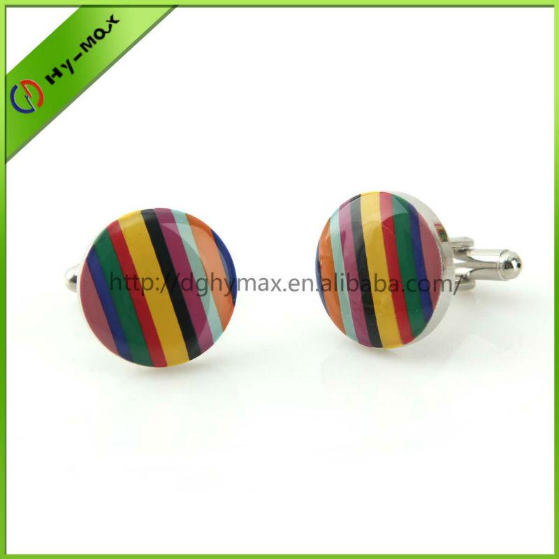 colorful brass offset printing strip cufflinks