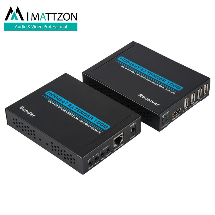 Mattzon 100m HDBaseT hdmi extender, 4k@60hz, RS-232 and IR control,12V POC,