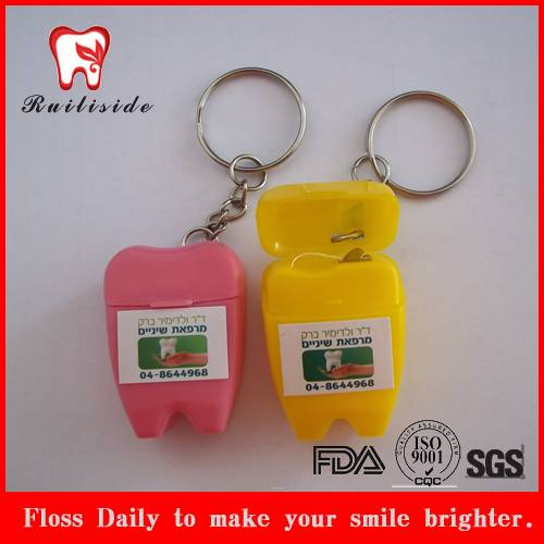 with keychain tooth shape dental floss