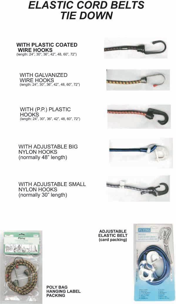 BUNGEE CORD, Elastic Tie Down Cord Belt