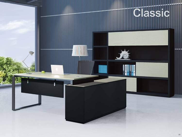 1.8m L shape melamine office table with metal leg support for manager office