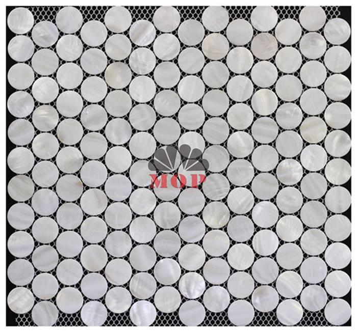 white shell mosaic board living room