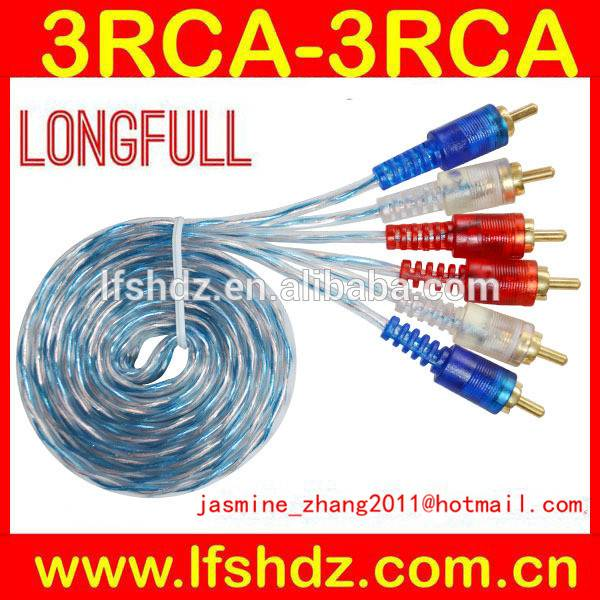 transparent 3rca to 3rca audio video cable hot sale in 2014