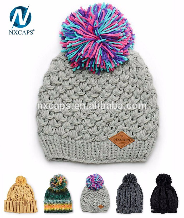 Custom Patch Cap Hat Long Acrylic pom Beanie Knit Hat Winter Hat/slouchy beanie hat/dreadlock rasta