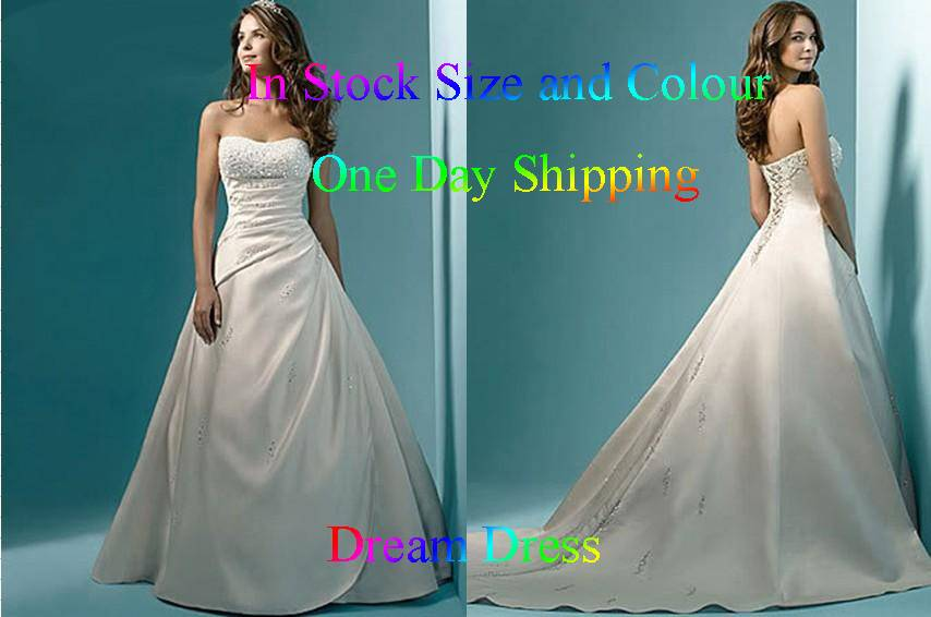 Top Quality Hot Sales Stock US Size 4-6-8-10-12-14-16-18-20 White/Ivory Satin Beading Wedding Dress