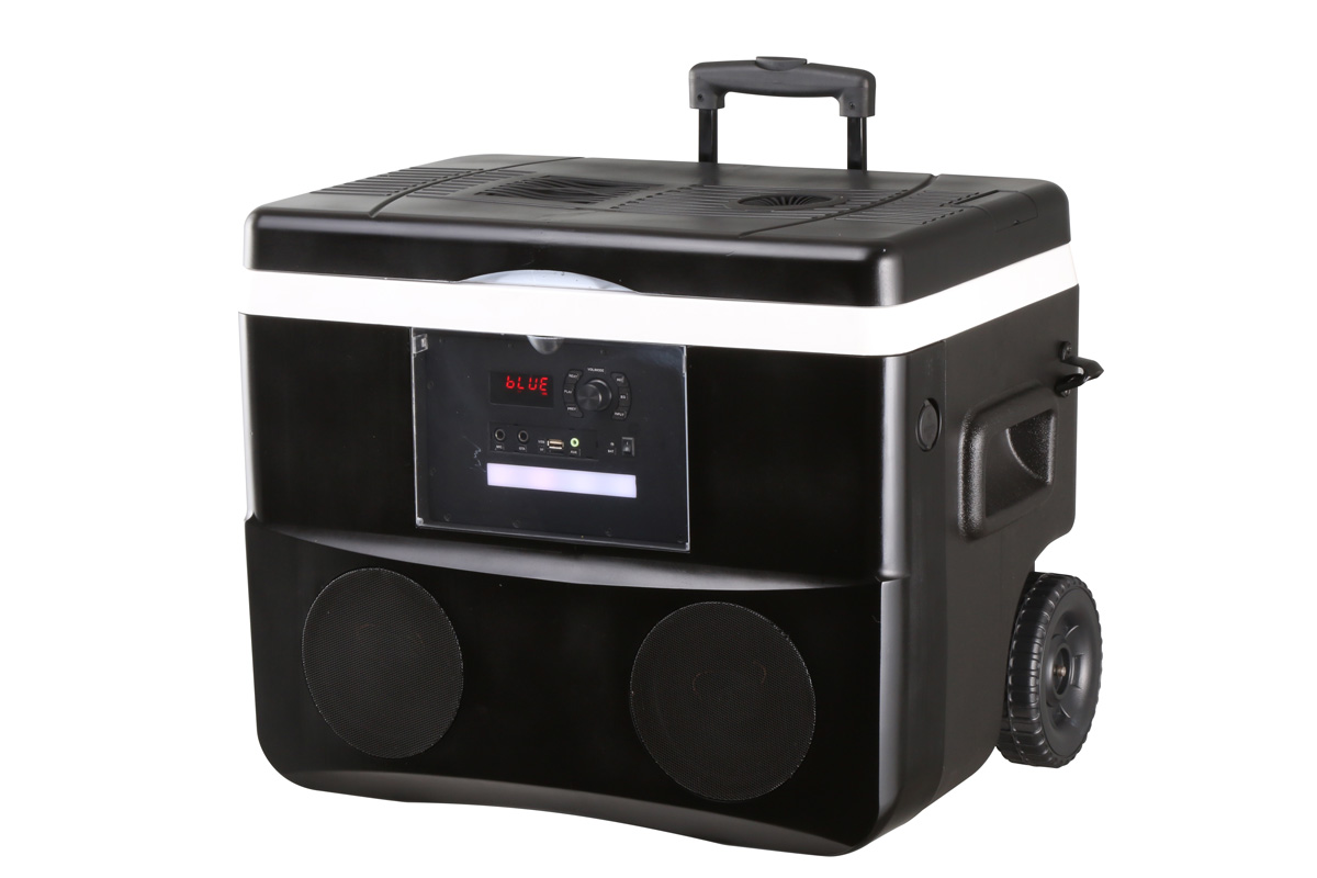 50 Liter Roller Party Cooler Box Outdoor Ice Chest Rolling Speaker Cooler Camping Tool