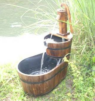 Self-contained wooden water fountain