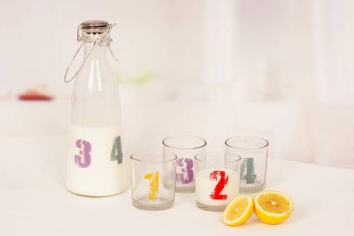 glass milk set with decal