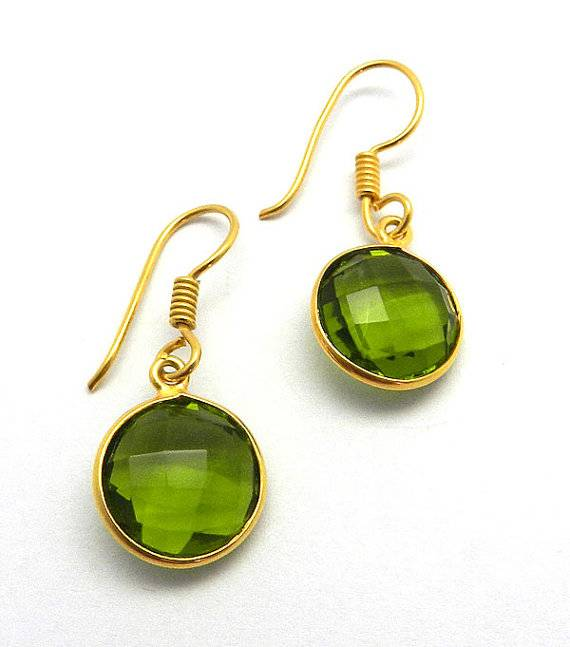 Top quality Jewelry Peridot Quartz Gemstone Sterling Silver Earrings