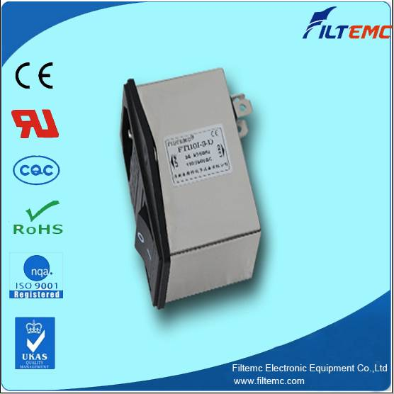 IEC socket filter with fuse and switch control/EMI filter