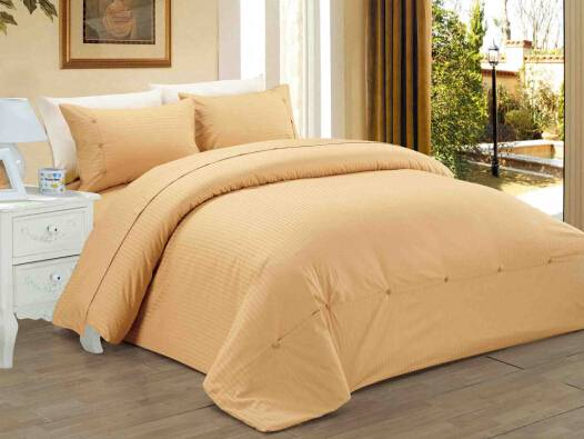 Sateen Stripe Polyester cotton Duvet Cover Bedding Set
