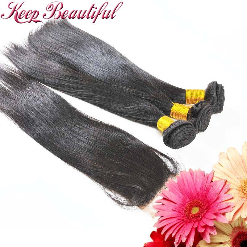 100% Unprocessed Indian Virgin Human Hair Straight 3bundles With Free Part Lace Closure
