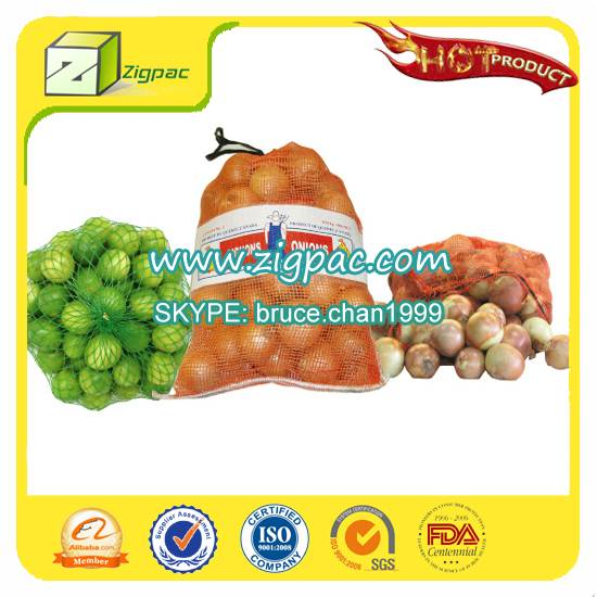 Made in china with competitive rate and ISO14001 approved small drawstring onion mesh bag