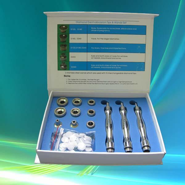 Diamond dermabrasion microdermabrasion 9 tips 3 wands cotton filter