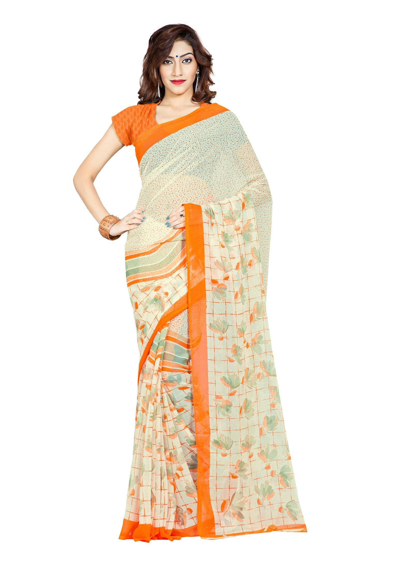 Ambaji Casual Wear Beige Colored Printed Chiffon Saree/Sari