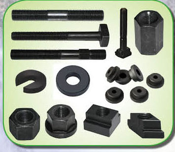Hardened forged T-bolts and T-nuts for injection machined mold clamps