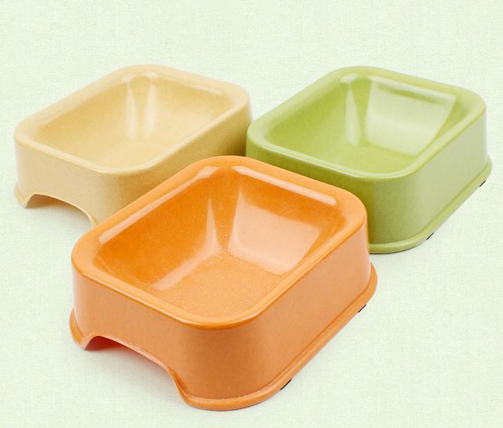 Compostable Square Pet Bowl Bamboo Fiber Biodegradable Dog Feeder Bowl