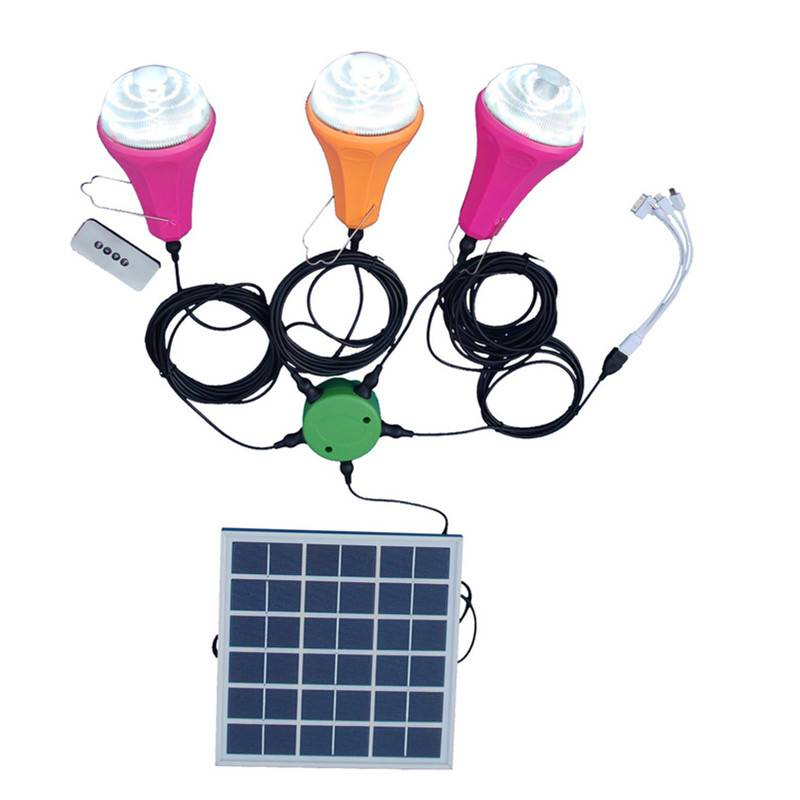 Top quality two led bulbs solar led light, rechargeable solar home lighting kit for house use