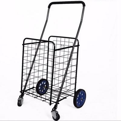 Portable Folding Luggage Trolley /Shopping Carts/ four big wheel folding wire shopping cart
