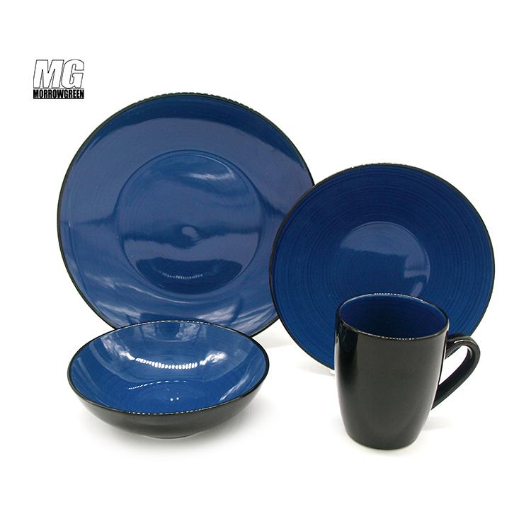 wholesale 16pcs two tone color glaze ceramic stoneware dinnerware set