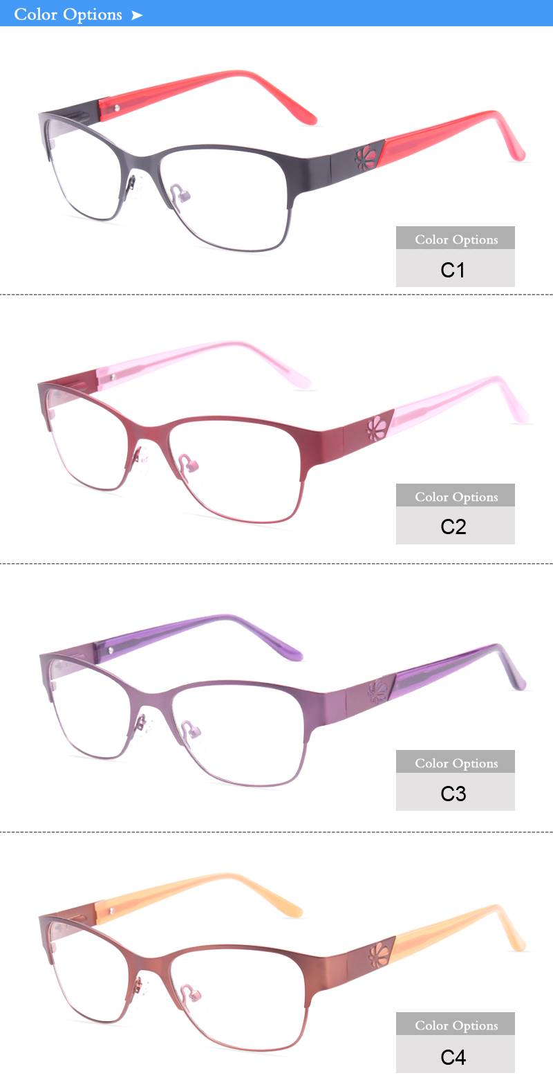 Fashion design flexible super light weight stainless steel metal optical frame JC6633