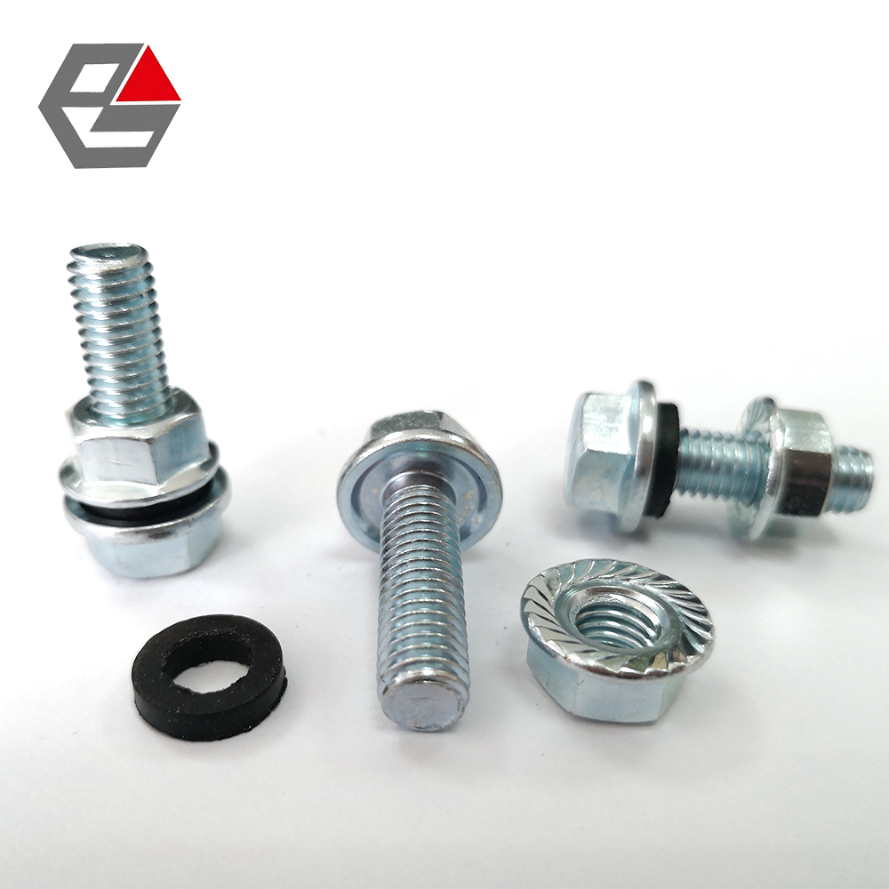 Silo bolt with EPDM washer and hex flange nut
