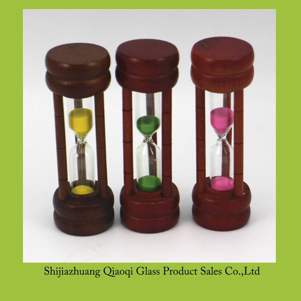 Multicolor small wooden sand timer / Cylindrical mini glass hourglass