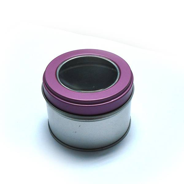 round candle tin box with window