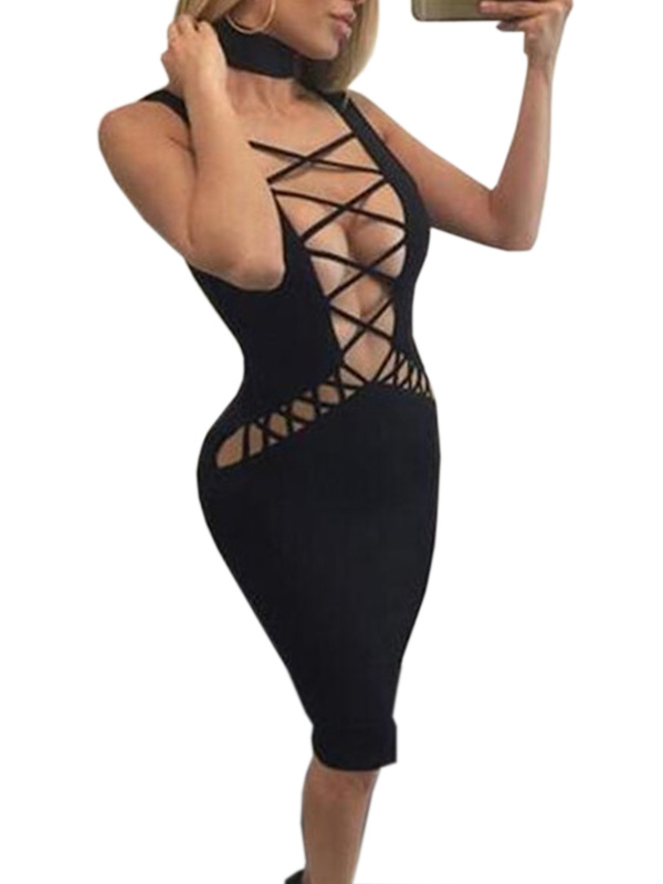 Sexy Women Black Red Blue V Neck Holloe Out Bodycon Dress
