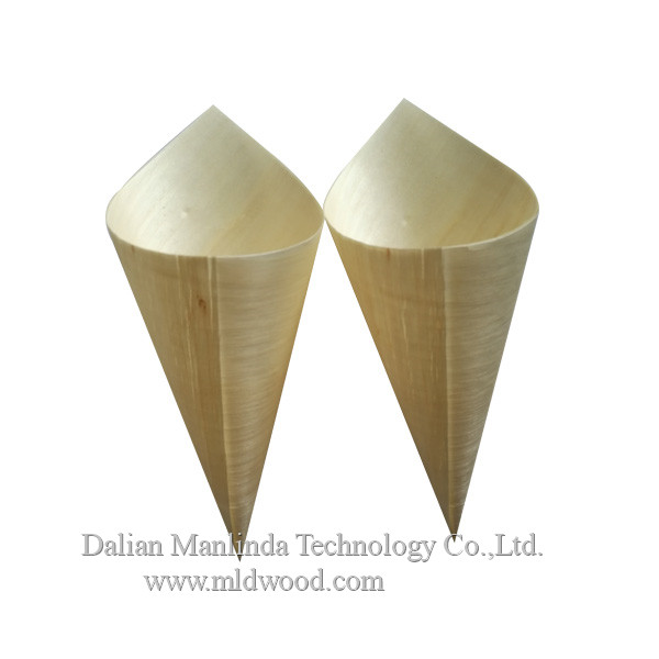 Disposable wooden cone