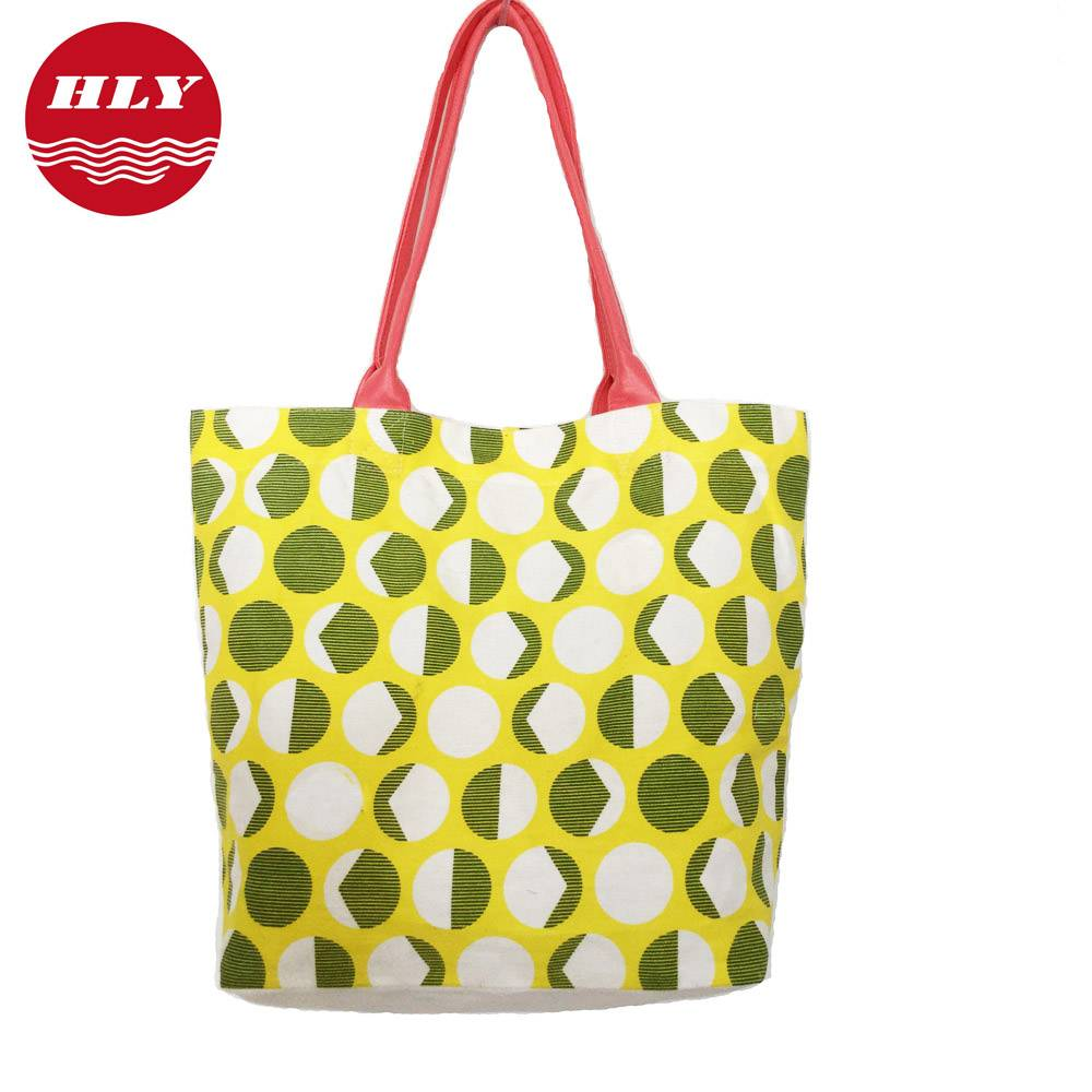 2015 Canvas shopping bag with leather Handle