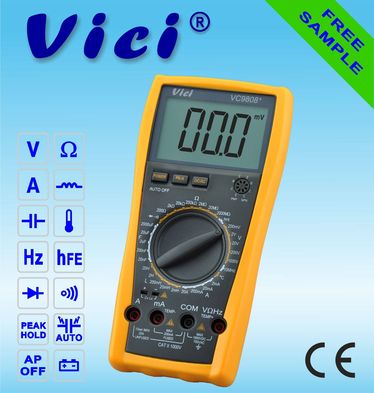 VC9808+  3 1/2  Portable digital multimeter