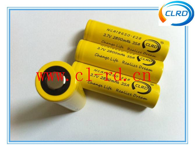 CLRD NCA18650-E28 2800mah 35amp high drain 18650 battery cells for e-cigarette